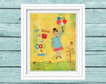 Whimsical Girl Folk Art. Dream big dreams. Dreamer girl. Follow your dreams art. Mixed media art. Inspirational art