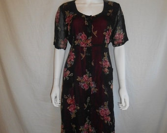 SALE 90s black long rayon floral dress    Small/Medium