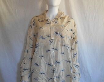 SALE Vintage 50s Men's BOAT SHIRT / 1950s Long Sleeve Novelty Print Shirt