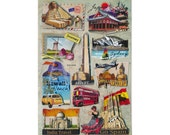 SS-023 Stickers for Scrapbooking & Card Making - 3D Dimensional, Travel World, Sphinx Egypt, Australia, Hawaii, India, Spain, Holland, Japan
