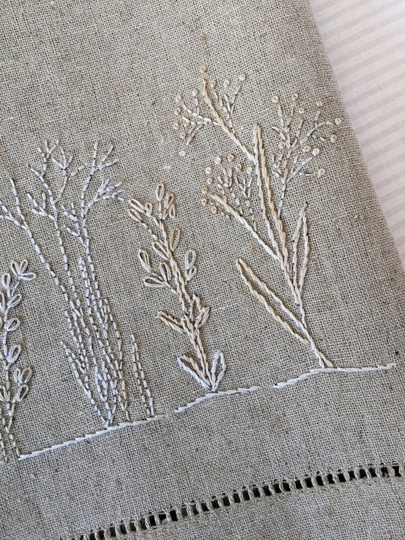 Winter Botanical Tea Towel Hand Embroidery Pattern Kit