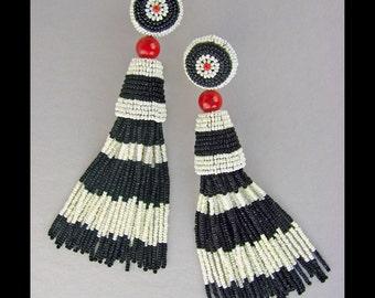 Black and white tassel earrings, beaded tassel earrings, black white and red, tassel earrings, beaded tassels, Art Deco tassels