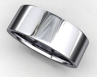 smith ring - 14k white gold men's wedding band, organic brushed satin finish