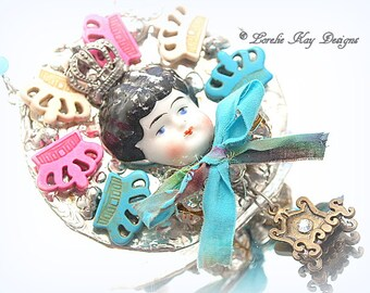 Queen of Everything Necklace Wearable Art Doll Pendant OOAK Statement Necklace Jewelry Lorelie Kay Original