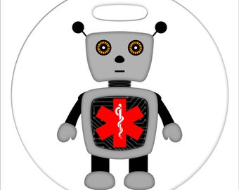Robot with Medical Symbol  - 4 Inch or 2.5 Inch Round Plastic Bag Tag
