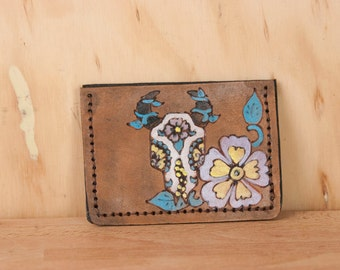 Leather ID Wallet - Front Pocket Wallet - Small Wallet - Black Eyed Nellie with sugar skull - day of the dead - Mens or Womens - Card Wallet