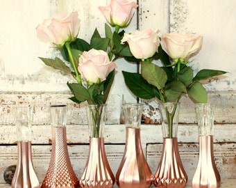 Rose Gold vases, gold wedding decor,  Set of 12 rose gold dipped vases and, gold painted vase, rose gold wedding table decor