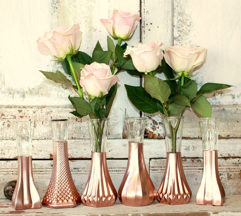 Gold Wedding Decorations: Rose Gold Vases Gold Wedding Decor Set Of 6 By Thepaisleymoon