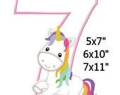 Fairy Tale Unicorn Birthday 7 Machine Embroidery Applique Pattern 5x7 6x10 7x11 INSTANT DOWNLOAD