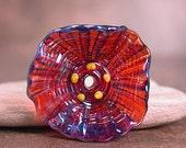 Lampwork Glass Flower Focal Bead Silver Glass Clio Burgundy Divine Spark Designs SRA