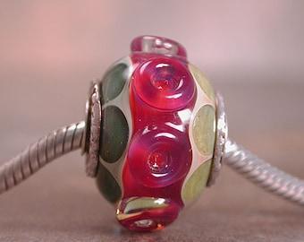 European Charm Bead Lampwork Boro Glass Sterling Silver Cored & Capped Divine Spark Designs SRA