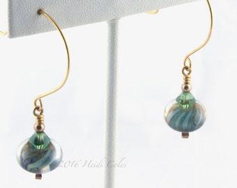 146 Teal Green Lampwork Earrings