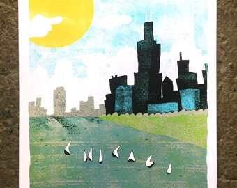 "Chicago- 16""x20"" silkscreen art print"