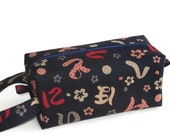 Boxy Bag Knitting Project Zippered Pouch - Imported Japanese fabric, blue and red