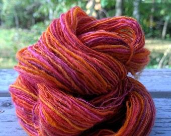 SALE! Tequila Sunrise, handspun DK wool yarn, 58 g/218 yds