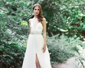 V-neck Racerback wedding gown with button detail: Flynn