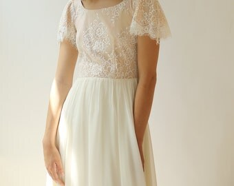 sample SALE One of a Kind Lace and Silk Modest Wedding Dress--