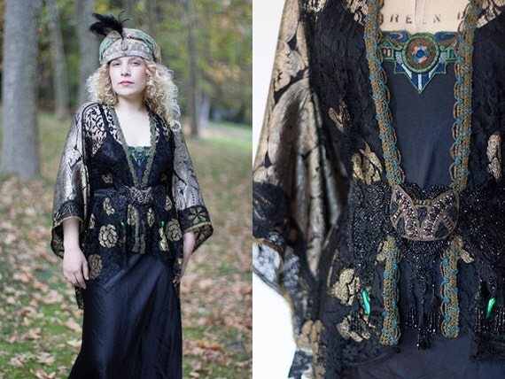Art Deco Flapper Kimono Coat Gold/Black Lame French Chantilly Lace 1920's OOAK