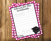Printable Hot Pink Graduate Advice Cards - Instant Download