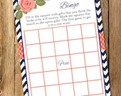 Printable Navy and Coral Bridal Shower Bingo Game - Instant Download