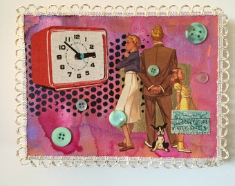 Nuclear family - ooak mixed media art collage