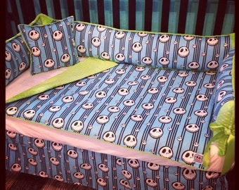 CUSTOM RARE Nightmare Before Christmas Jack baby 4 piece crib bedding set girl boy unisex in choose your minky