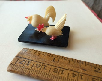 1920s Miniature Chickens - Celluoid Miniature Made in Japan