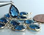 Promotion SALE 15% off Framed sapphire blue glass drop charm connector, earring componenet, necklace pendant, 2 pcs (item ID G43N101GP)