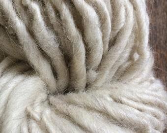 Snow, 144 yards, single ply bulky weight, handspun local wools, suri llama yarn, undyed handspun yarn, bulky white yarn, rustic handspun