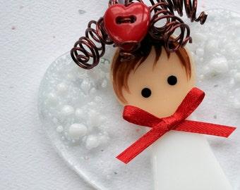 001 - Valentine Angel, Fused Glass Angel, Glass Angel, Angel Ornament, Fused Glass, Handmade, CGGE, TT, Circle Clickers