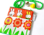 Handmade Miffy Fabric Purse / Make up bag  by Jane Foster  - Dick Bruna retro vintage pouch