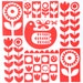 Red Scandi chicken screen print by Jane Foster - signed limited edition
