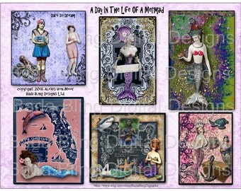 mermaid  collage sheets, A Day In The Life Of A Mermaid, altered art mermaids...INSTANT Digital Download at Checkout, mermaids, mermaid art