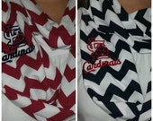 ST. LOUIS CARDINAL Chevron Infinity Scarf----Red or Navy