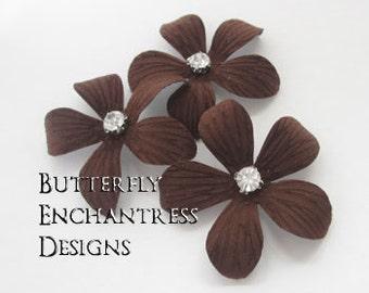 Rustic Hair Accessories, Bridal Hair Flower, Fall Autumn Wedding Bridesmaid Gift - 3 Brown Caribbean Plumeria Hair Pins - Rhinestone Centers