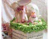 Shabby Spring Easter Paper Mâché Bunny Box Chic Hand Painted Pink Roses ECS sct schteam SVFTeam