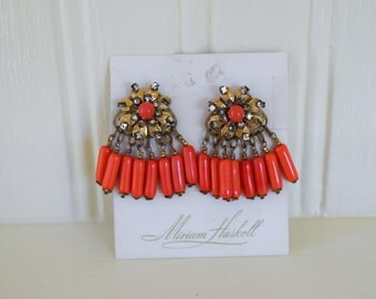 Miriam Haskell Vintage Clip Earrings on Original Card - Rhinestones and Coral Dangles