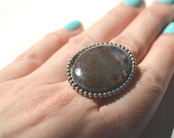 Brown Moss Agate Ring, NAVAJO signed Ring, (TF) Ring, Native American Ring, Tribal Ring, Moss Agate Ring, Sterling Silver Ring, Size 7 Ring