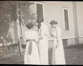 vintage photo Young Women All from Back White Dresses Minnesota Small Town