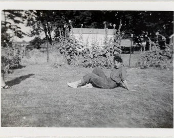 Vintage photo 1947 Teenage Girl Blue Jeans Flower Garden She loved pose on farm 2 photo lot