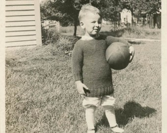 vintage snapshot 1920 Little Boy Hand Knit Sweater Holds Pigskin Football Rugby ball