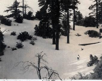 vintage photo 1908 Mt Wilson Snow on Mountain California Man & Nature w SNowball Hillside
