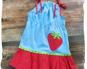 Birthday GIRL Strawberry Dress Pillowcase Outfit Set Summer Sweet Blue Red Baby Size 3m 6m 9m 9 12 18 24 month 2 2T 3 3T 4T 4 5T 5 6 7 8