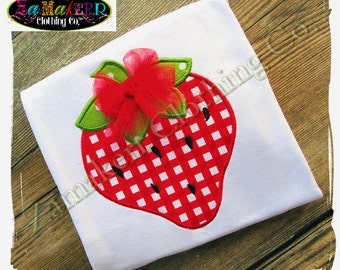Girl Strawberry Shirt Bodysuit T Shirt Red Gingham Onesie Tee Birthday Party Gift Size 3m 6m 9m 9 12 18 24 month 2 2T 3 3T 4T 4 5T 5 6 7 8