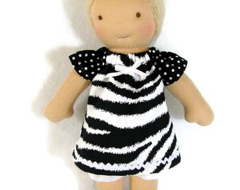 7 to 8 inch Waldorf Doll Dress, black and white animal print and polka dots doll dress, doll dress, tiny doll dress, optional white bloomers