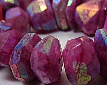 Genuine Rainbow Moonstone Nuggets, Ruby, AB aurora borealis finish irregular bread slice