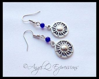 Let the Sun Shine In Sun Earrings with Blue Aventurine