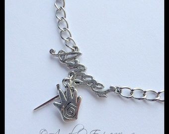 Supernatural Castiel Name of the Angel Anklet with Healing Hand and Angel Blade