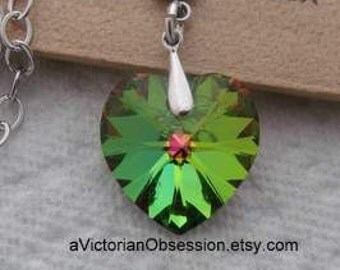 Crystal Heart Vitrail green and silver Necklace pendant