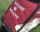 Size medium PLEASE DONATE Fundraising Dog Vest with large clear pockets for donations, Burgundy Dog Vest,  fund raising vest